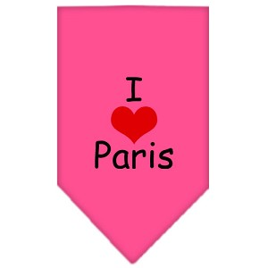 I Heart Paris Screen Print Bandana Bright Pink Large
