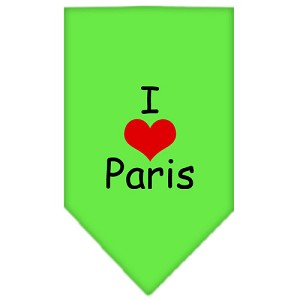 I Heart Paris Screen Print Bandana Lime Green Small