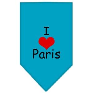 I Heart Paris Screen Print Bandana Turquoise Small