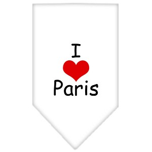 I Heart Paris Screen Print Bandana White Small