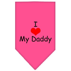 I Heart My Daddy Screen Print Bandana Bright Pink Large