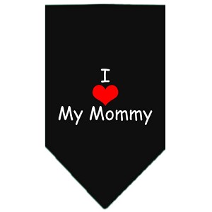 I Heart My Mommy Screen Print Bandana Black Large