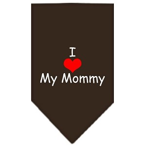 I Heart My Mommy Screen Print Bandana Cocoa Small