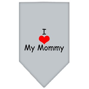 I Heart My Mommy Screen Print Bandana Grey Small