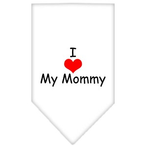 I Heart My Mommy Screen Print Bandana White Small