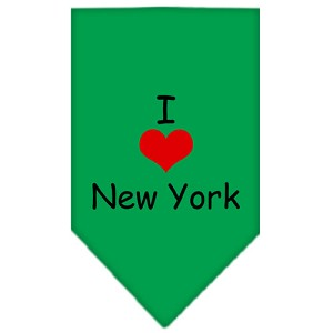I Heart New York Screen Print Bandana Emerald Green Large