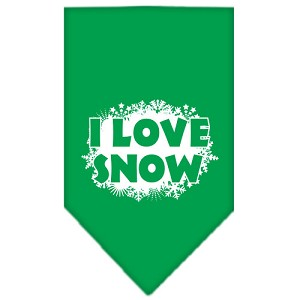 I Love Snow Screen Print Bandana Emerald Green Large