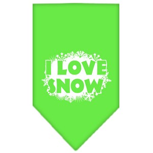I Love Snow Screen Print Bandana Lime Green Large