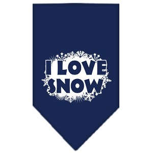 I Love Snow Screen Print Bandana Navy Blue Small