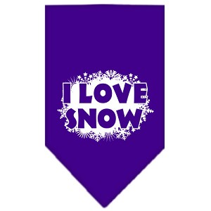 I Love Snow Screen Print Bandana Purple Large