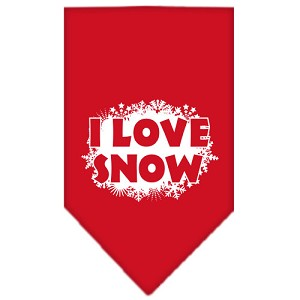 I Love Snow Screen Print Bandana Red Small