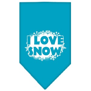 I Love Snow Screen Print Bandana Turquoise Large