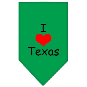 I Heart Texas Screen Print Bandana Emerald Green Large
