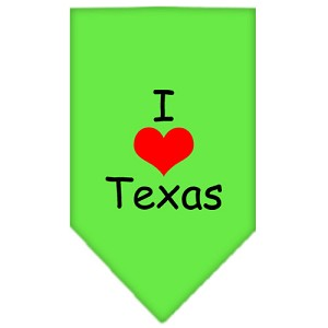 I Heart Texas Screen Print Bandana Lime Green Large