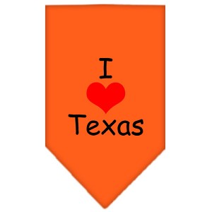 I Heart Texas Screen Print Bandana Orange Small