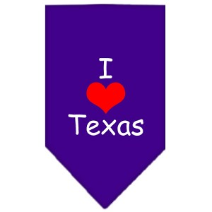 I Heart Texas Screen Print Bandana Purple Large