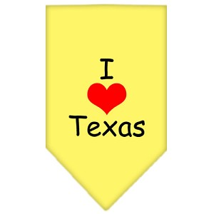I Heart Texas Screen Print Bandana Yellow Large