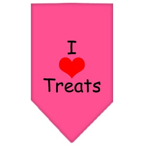 I Heart Treats Screen Print Bandana Bright Pink Small
