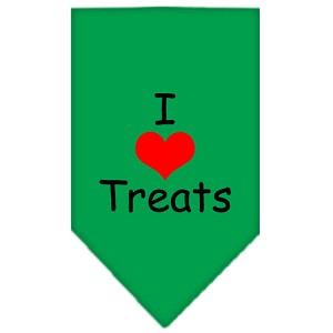I Heart Treats Screen Print Bandana Emerald Green Small