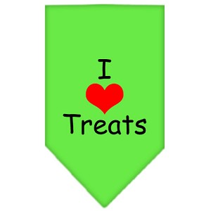 I Heart Treats Screen Print Bandana Lime Green Small