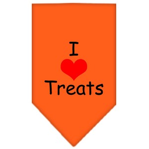 I Heart Treats Screen Print Bandana Orange Small