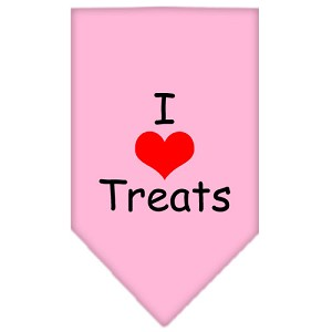 I Heart Treats Screen Print Bandana Light Pink Large