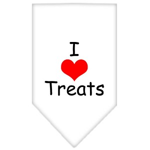 I Heart Treats Screen Print Bandana White Small