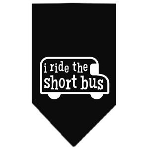 I ride the short bus Screen Print Bandana Black Small