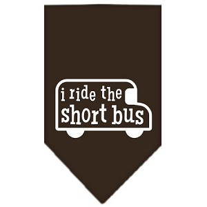 I ride the short bus Screen Print Bandana Cocoa Small