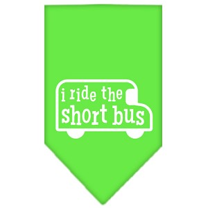I ride the short bus Screen Print Bandana Lime Green Small