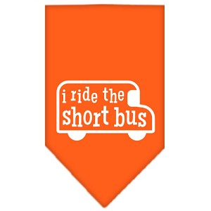 I ride the short bus Screen Print Bandana Orange Small