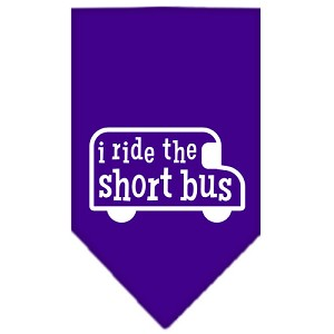I ride the short bus Screen Print Bandana Purple Small