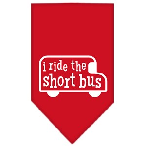 I ride the short bus Screen Print Bandana Red Large