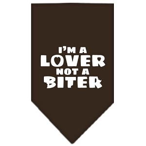 I'm a Lover Not a Biter Screen Print Bandana Cocoa Large