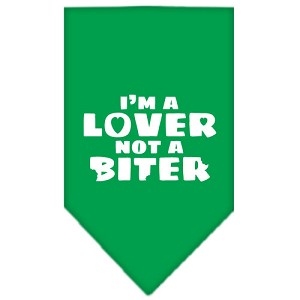 I'm a Lover Not a Biter Screen Print Bandana Emerald Green Small