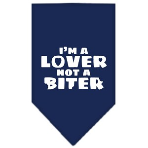 I'm a Lover Not a Biter Screen Print Bandana Navy Blue Small
