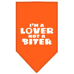 I'm a Lover Not a Biter Screen Print Bandana Orange Small