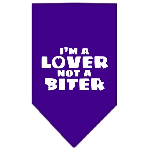 I'm a Lover Not a Biter Screen Print Bandana Purple Large