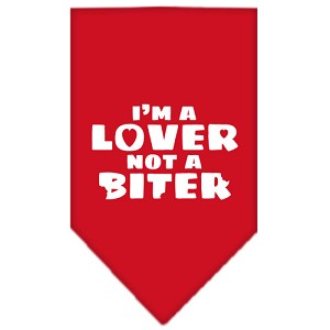 I'm a Lover Not a Biter Screen Print Bandana Red Small