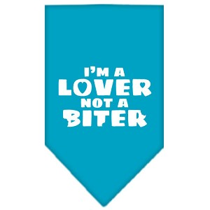I'm a Lover Not a Biter Screen Print Bandana Turquoise Large