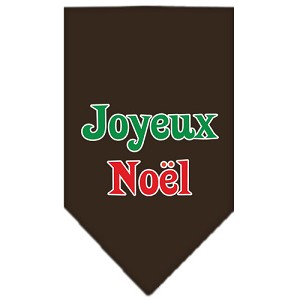 Joyeux Noel Screen Print Bandana Cocoa Small