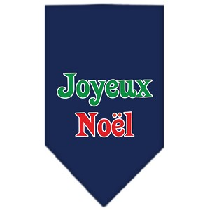 Joyeux Noel Screen Print Bandana Navy Blue Small