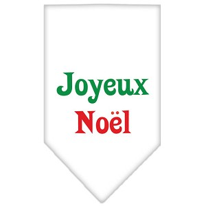 Joyeux Noel Screen Print Bandana White Small