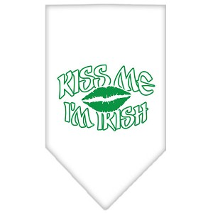 Kiss me I'm Irish Screen Print Bandana White Small