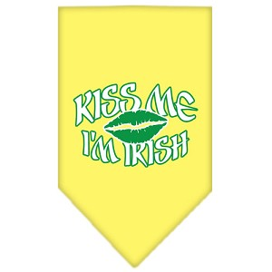 Kiss me I'm Irish Screen Print Bandana Yellow Small
