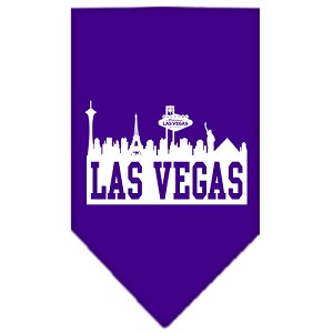 Las Vegas Skyline Screen Print Bandana Purple Large