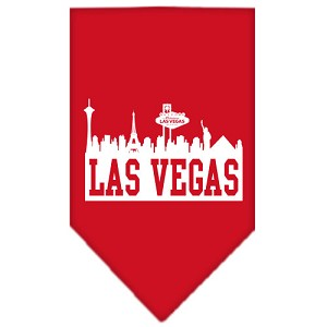 Las Vegas Skyline Screen Print Bandana Red Small