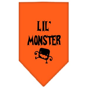 Lil Monster Screen Print Bandana Orange Small