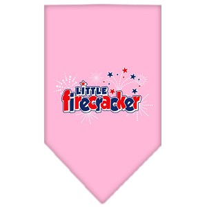 Little Firecracker Screen Print Bandana Light Pink Small
