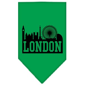 London Skyline Screen Print Bandana Emerald Green Small